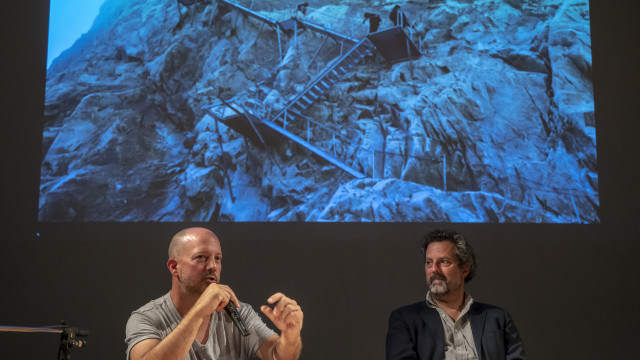 Séverin Guelpa und Simon Lamunière, Buchpräsentation ENERGY AS A VEHICLE, 27. September 2018.     Foto: Lorenzo Pusterla / Kunstraum Walcheturm